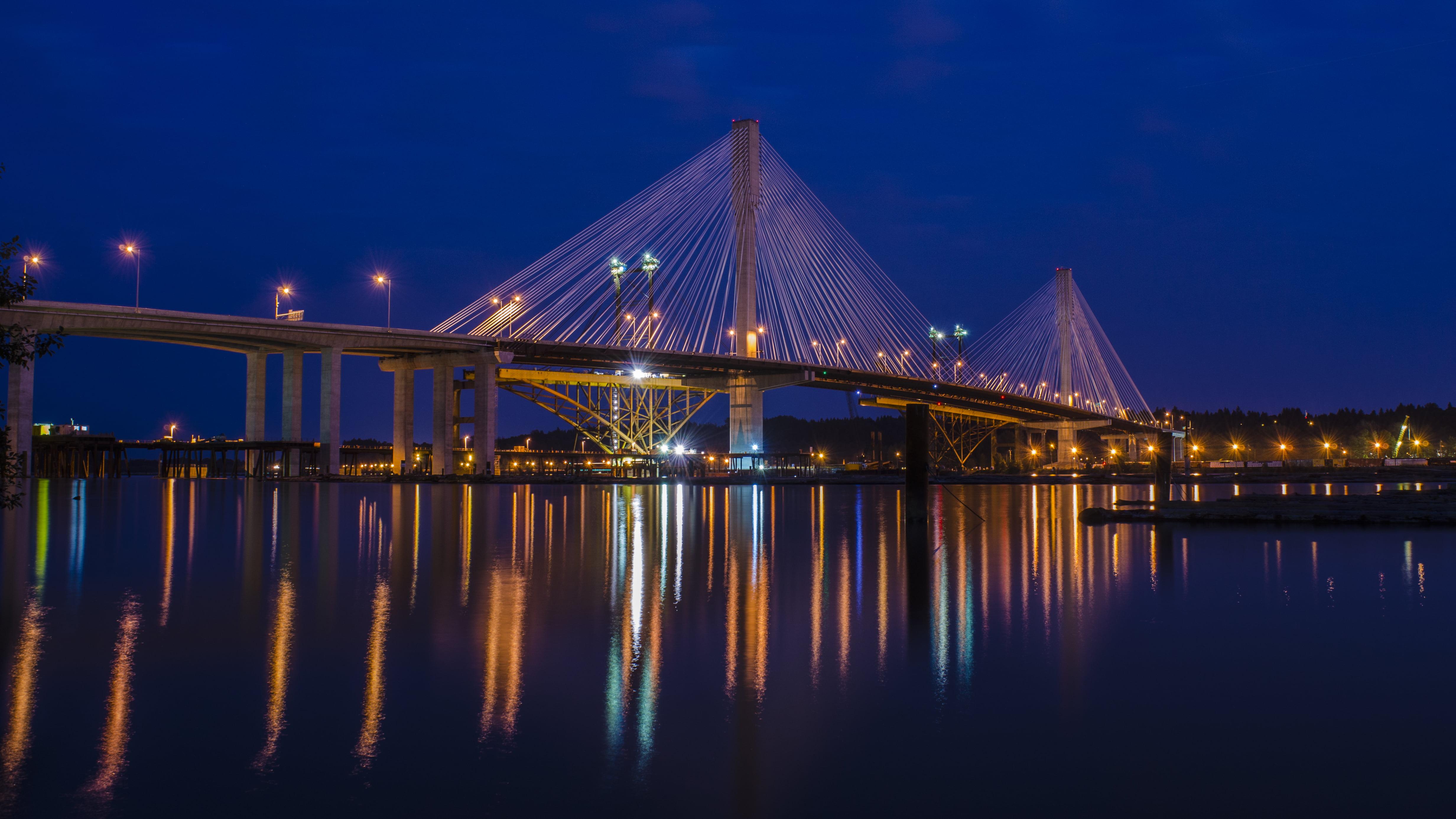Bridge Port Mann Nighttime Nikon D7000 Night Wallpaper